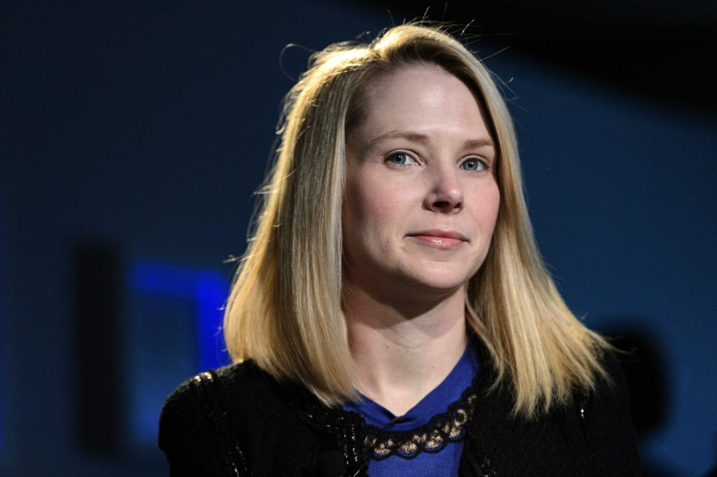 FILE - In this Friday, Jan. 25, 2013, file photo, Marissa Mayer, CEO of Yahoo!, listens during the 43rd Annual Meeting of the World Economic Forum, in Davos, Switzerland. Yahoo showed more signs of progress during the fourth quarter of 2012m, as the Internet company took advantage of higher ad prices and rising earnings from its international investments to deliver numbers that exceeded analyst forecasts. The results announced Monday, Jan 28, 2013, covered Yahoo's first full quarter under Mayer. (AP Photo/Keystone, Laurent Gillieron)